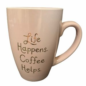 Paper Source Life Happens Coffee Helps Pink Mug